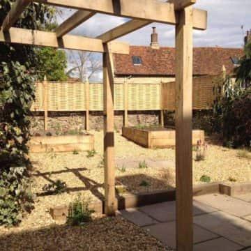 Weave Style Fence, Pergola & Gravel Area