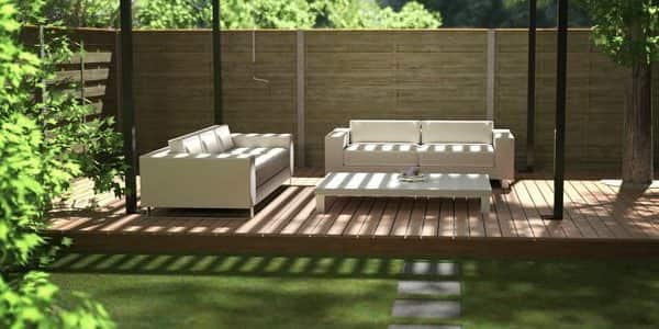 Black Renson Garden Pergola With White Sofas And Table