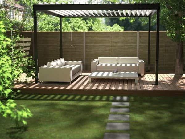 Black Renson Garden Pergola With White Sofas And Table