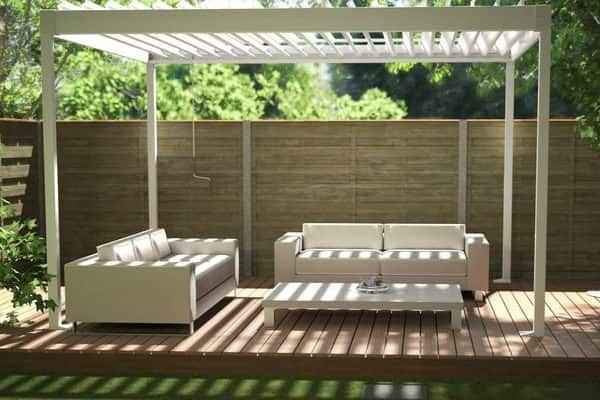 White Renson Garden Pergola With White Sofas And Table