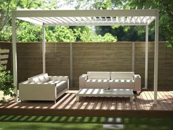 White Renson Garden Pergola With White Sofas And Table