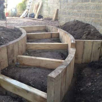 Timber Garden Steps In Progress