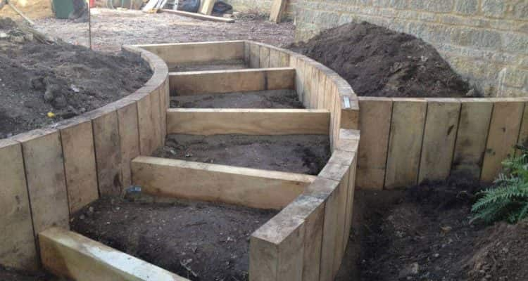Timber Garden Steps In Progress