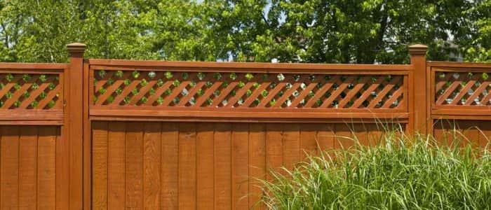 Wooden Fence With Lattice Trellis Design
