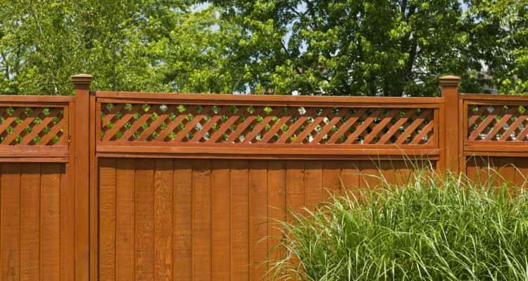 Wooden Fence With Lattice Trellis Design